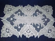 Vintage set of 4 madeira hand embroidered linen place mats~needlelace fillings - Google Search