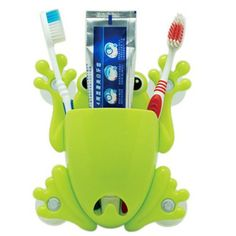 TinkSky Cute Cartoon Frog Shaped Adhesive Wall Mount Toothbrush Holder Container Box Organizer (Green) Tinksky http://www.amazon.com/dp/B00KS2RU12/ref=cm_sw_r_pi_dp_1Qglvb0K3Z17C