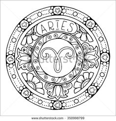 Zodiac sign of aries and constellation in mandala with ethnic pattern. Set of black and white icon. Horoscope and zodiacal template. Can be used for magazine, coloring book. Hand drawn doodle circle.