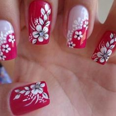 For tropical nails, shades of blue, pink, orange, and green work just perfectly. We have gathered some 50 hot tropical nail art designs. Flower Nail Designs, Nail Art Designs, Design Art, Floral Design, Party Nail Design, Nails Design, Tropical Nail Art, Modern Nails, Floral Nail Art