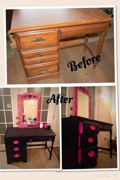 I forgot to take a before picture but this one is almost identical to mine. I added the mirror and turned this desk into a vanity for my daughter's room.
