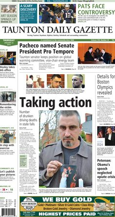 The front page of the Taunton Daily Gazette for Thursday, Jan. 25, 2015.