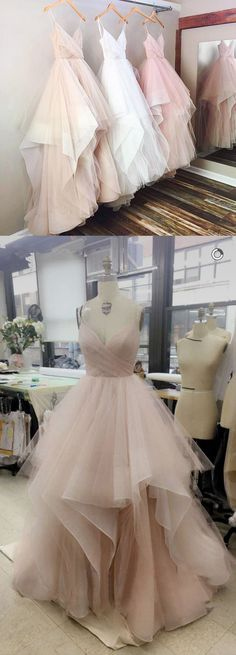 Charming A Line Tulle Evening Prom dresses, Custom Long Party Prom Dresses,