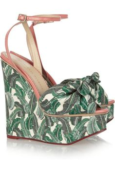 7e96df680cf96a Charlotte Olympia Meredith printed canvas wedge sandals Designer Clothes  Sale