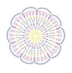 이웃님이 봄맞이 티코스터를 포토샵으로 그려서 보내주셨어욤~~ 포토샵으로 도안도 그릴 수 있다는 걸 첨 ... Motif Mandala Crochet, Granny Square Crochet Pattern, Crochet Diagram, Crochet Stitches Patterns, Crochet Chart, Crochet Squares, Crochet Instructions, Crochet Curtains, Crochet Tablecloth