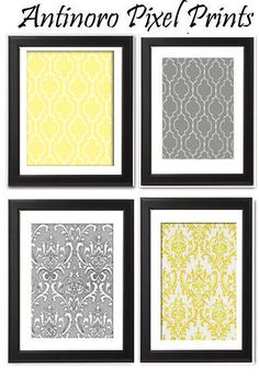Yellow Greys White Wall Art Vintage - DIY with scrapbook paper!