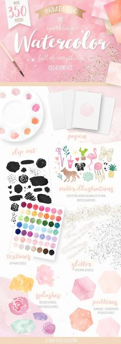 Watercolor Textures Kit and one-click Photoshop styles, watercolor-ready illustrations, splashes, clip art, realistic digital papers and glitter overlays.