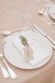 Fresh Greenery, Rosemary, Place Cards, Tablescape, Table Setting, Place Setting, Gold, Romantic