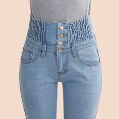 2017 Jeans Womens High Waist Elastic Skinny Denim Long Pencil Pants Plus Size 40 Woman Jeans Camisa Feminina Lady Fat Trousers - TakoFashion - Women's Clothing & Fashion online shop Trousers Women, Pants For Women, Clothes For Women, Trousers Fashion, Jeans Fashion, Jeans Recycling, Moda Jeans, Jeans Skinny, Slim Jeans