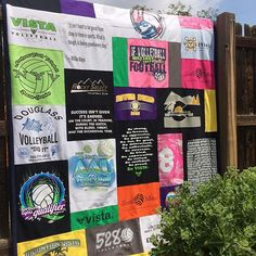 A local Colorado club and high school volleyball t shirt quilt. ✂️♻️✂️ #clubvolleyball #rockymountainregion #rmrvolleyball #5280volleyball #mountainvistahighschool #highschoolvolleyball #norther