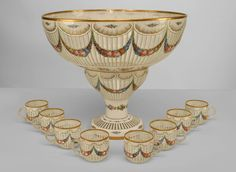 French Victorian accessories punch bowl set glass