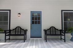 Country Living Magazine's 2014 'House of the Year.' Get the look with Benjamin Moore: Grand Entrance, High Gloss, Buckland Blue HC-152 (door) @countryliving #BenjaminMoore front door, blue doors, dutch door, pretti door, door paint