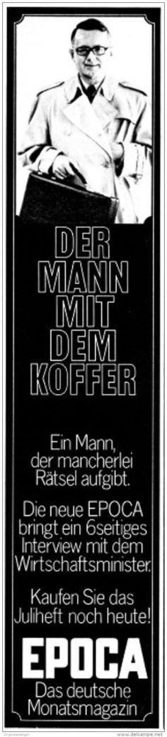 Original-Werbung/ Anzeige 1969 - EPOCA / MOTIV WIRTSCHAFTSMINISTER KARL SCHILLER - ca. 55 x 240 mm