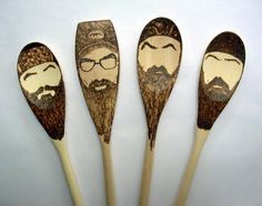Duck Dynasty Wooden Spoons -Set of Mustache Beard Spoon Gifts for Him Under 30 Si Robertson Hey Jack Happy Happy Happy Redneck Christmas Beard No Mustache, Moustache, Beard Silhouette, Duck Dynasty Party, What The Duck, Duck Commander, Wooden Spoons, Baby Gifts, Sculpture