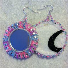Native American beadwork. Beaded earrings. Done by me.