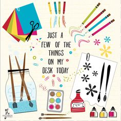 Julie Hamilton Designs {artistically afflicted blog}. A few of the things on my desk- illustration,art supplies, paint, paper,ink
