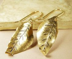 Large gold leaf earrings Artisan Hand Etched by CopperSunDesign, $32.00