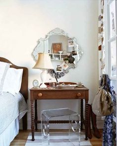 Wondrous Acrylic Stool And Unique Mirror To Equip Bedroom Vanity With Modern Curtains And White Wall With Wooden Floor Interior Design Furniture Represents Your Personality Furniture Decor, Furniture, Interior, Home, Home Bedroom, Small Bedroom Furniture, Apartment Decor, Bedroom Decor, Interior Design