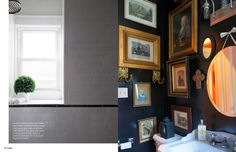 gallery wall in the powder room December/January 2014 - Lonny Magazine - Lonny