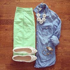 Down East Basics Mint Pencil Skirt, Chambray Shirt, Lace Flats   #weekendwear #casualstyle #liketkit   www.liketk.it/1kAOE   IG: @whitecoatwardrobe