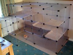 Chinchilla Cage, Ferret Cage, Pet Ferret, Pet Cage, Diy Bunny Cage, Bunny Cages, Rabbit Cages, Cavy Cage, Rabbit Hutch Indoor