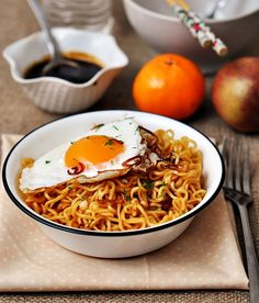 Homemade Mi Goreng... Yum! Ramen noodles kicked up a notch with Indonesian flavors. It doesn't get any easier than this.