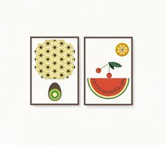 Set of illustrations. Prints 'Fruits in por rachelspuzzlethings