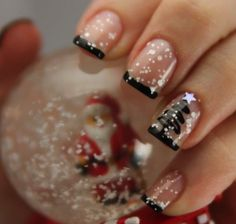 Unghie french manicure in bianco e nero per Natale 2014