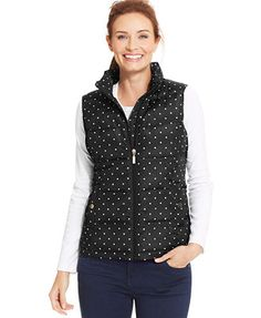 Charter Club Polka-Dot Quilted Vest