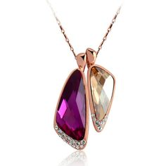 Lovely Couple Purple and Bronze Twins Necklace Pendant