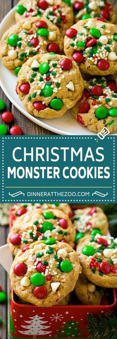 Hypoallergenic Pet Dog Food Items Diet Program Christmas Monster Cookies Recipe Oatmeal Cookies Peanut Butter Cookies M&M's Cookies Köstliche Desserts, Delicious Desserts, Dessert Recipes, Yummy Food, Top Recipes, Easy Recipes, Oatmeal Cookie Recipes, Easy Cookie Recipes, Oatmeal Cookies