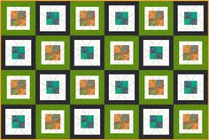 Four Patch quilt with alternating colors of outer frames.