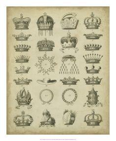 Heraldic Crowns & Coronets III Print by Milton at Art.com
