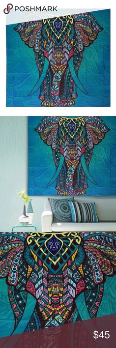 """Indian Mandala Elephant Tapestry Beautiful bright tapestry wall blanket.. it's brand new still in package. Unfortunately It is too big for my wall . Size: 210x148cm/82.6x58.2"""" Thickness: 0.35mm Pattern: Elephant Other"""