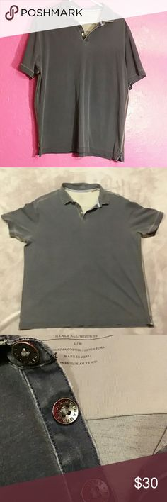 Tommy Bahama Jeans men's size L polo shirt Tommy Bahama Jeans Island Modern Fit men's size L polo shirt. Grey blue colored. Has a tiny pin hole in collar wear tag was removed, not noticeable or affecting of wear of shirt whatsoever. Super nice quality shirt and perfect for upcoming weather! Tommy Bahama Shirts Polos