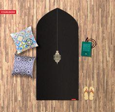 Muslim Islamic Prayer Mat Rug design by British Artist Ruh Al-Alam Prayer Mat Islam, Muslim Prayer Rug, Islamic Prayer, Islamic Gifts, Islamic Art, Islamic Quotes, Ramadan Crafts, Ramadan Decorations, Prayer Corner