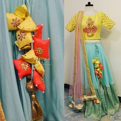 In a Spiritual Spree! The Goddess of wealth getting Trendy in Pastels at YUTI paired with a pastel blue banaras skirt and pastel pink dupatta!For Orders and Queries reach at or 27 July 2017 Saree Tassels Designs, Lehenga Designs, Indian Designer Outfits, Designer Dresses, Chennai, Navratri Dress, Kurti Embroidery Design, Hand Embroidery, Dress Indian Style