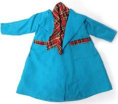 Faerie Glen Coat with tartan trim. Blue variation