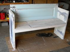 Bench made from old doors that i did