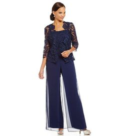 Emma Street 95003 Pant Set in Navy Mother Of The Bride Suits, Mother Of Groom Dresses, Mothers Dresses, Mob Dresses, Special Dresses, Casual Dresses, Chiffon Pants, Chiffon Dress, Lace Chiffon