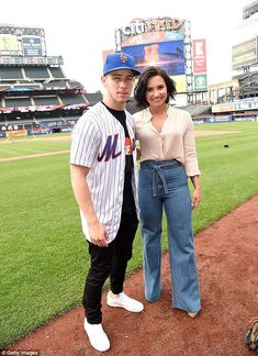 Grand slam! Nick Jonas and Demi Lovato, both 23, visited the New York Mets at Citi Field in Queens on Thursday