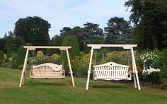 Swing Seats by the long border at Forde Abbey