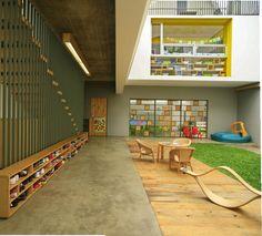 Image 1 of 21 from gallery of Shining Stars Kindergarten Bintaro / Djuhara + Djuhara. Courtesy of Djuhara + Djuhara Hospital Architecture, Education Architecture, Interior Architecture, Interior Design, Kindergarten Interior, Kindergarten Design, Bibliotheque Design, Hospital Design, Classroom Design