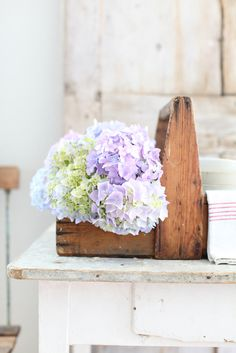 Dreamy Whites: A French Wooden Caddy, My Hydrangeas