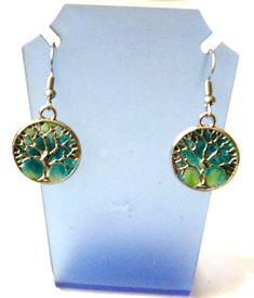 boucles d'oreilles arbre de vie vert et bleu canard Creations, Drop Earrings, Jewelry, Fashion, Teal, Tree Of Life, Duck Egg Blue, Boucle D'oreille, Fimo