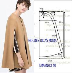 Passo a passo construção molde de capa. O molde encontra-se no tamanho 40. A ilustração do molde de capa não tem valor de costura.