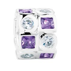 Sterling silver charm featuring two rows of alternating round white cubic zirconia and square purple cubic zirconia