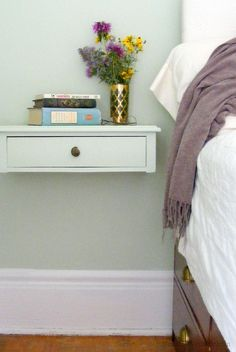 Wall Bedside Table Delectable Solid Beech Bedside Tableattaches To The Wall To Maximise Space Design Decoration