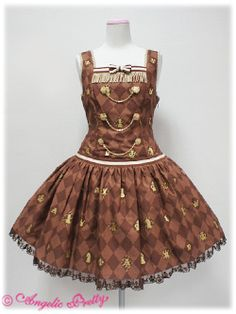 Brand:  Angelic Pretty Item Type:  Chess Chocolate Dropped Waist JSK Price:  ¥22,800 Year:  2011 Colors: Brown or Ivory Features: Lining, Partial Sheering, Detachable Bow Bust: 92 Waist: 72 Length: 84+3 Rereleased