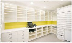 Pharmacy dispensary design and over the counter shelving and storage solutions. Hospital Pharmacy, Pharmacy Store, Shop Interior Design, Store Design, House Design, Shop Counter Design, Store Layout, Hospital Design, Shop Interiors